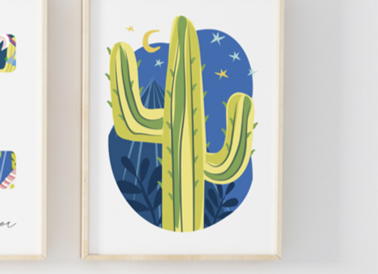 Oval Cactus Nightlife Poster Print