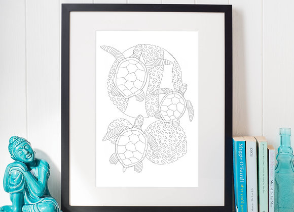 Under the Sea Colouring Pages - set of 4 designs