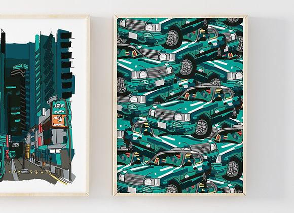 Hong Kong Green Taxi Pattern Print