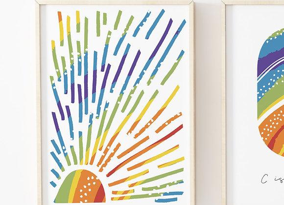 Sunshine Stripes Rainbow Dots Quote Poster Print