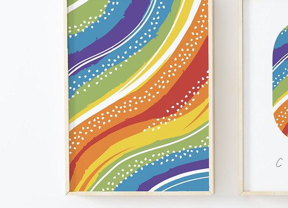 Rainbow Rhythm Dots Poster Print