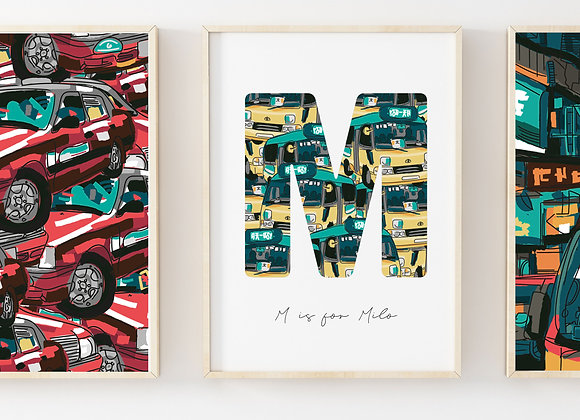 Hong Kong Minibus Personalised Letter Poster