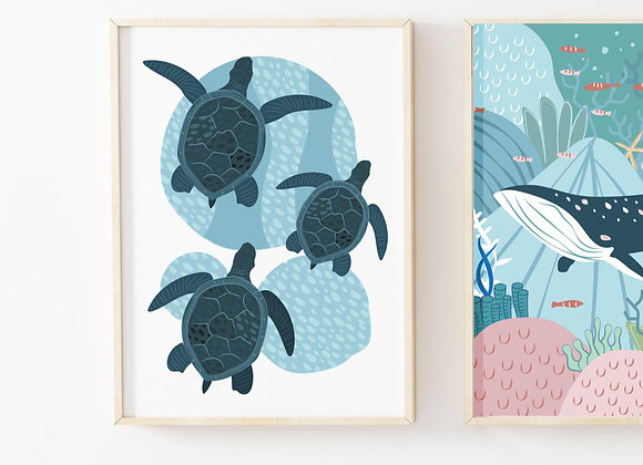 Turtle Under the Sea Poster Print