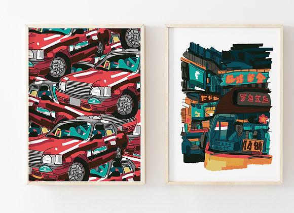Hong Kong Red Taxi Pattern Poster Print
