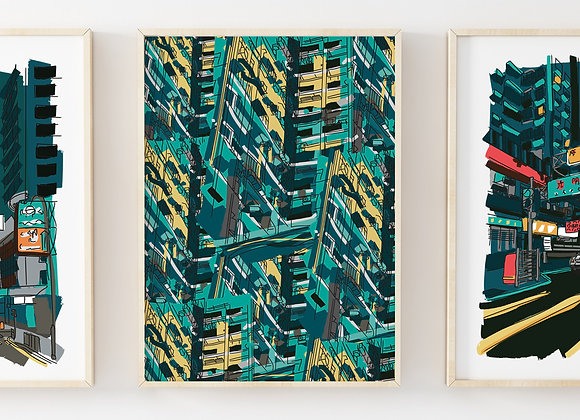 Hong Kong Blue Block Collage Print