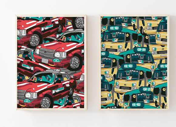 Bundle: Minibus and Taxi Pattern Posters (set of 2)