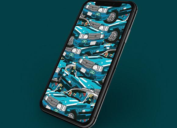 Hong Kong Blue Taxi Print  Phone Screensaver