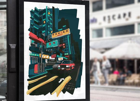 Hong Kong Street Crossing Poster Print