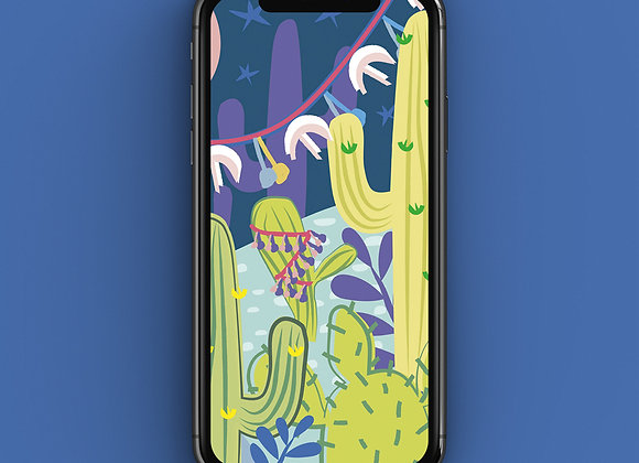 Cactus Nightlife Print Phone Screensaver