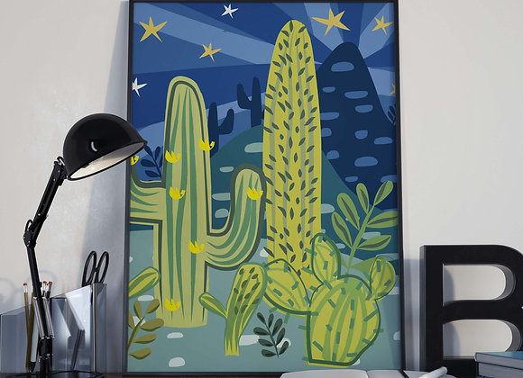 Navy Midnight Cactus Nightlife Poster Print