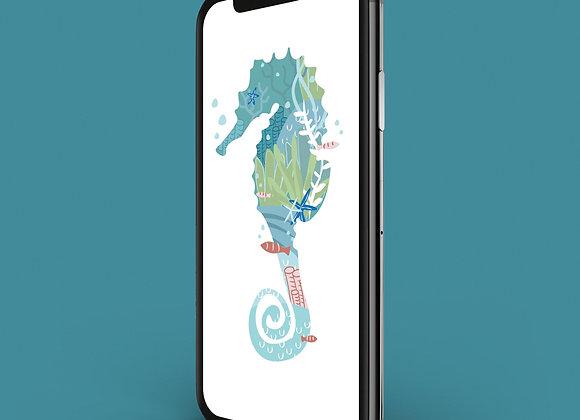 Under The Sea Seahorse Phone Screensaver