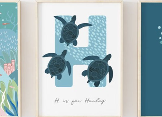 Personalised Turtle Letter Under the Sea Poster Print