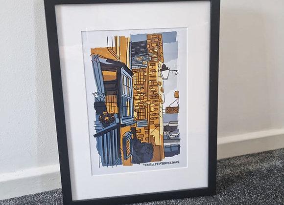Wales Tenby Yellow Print