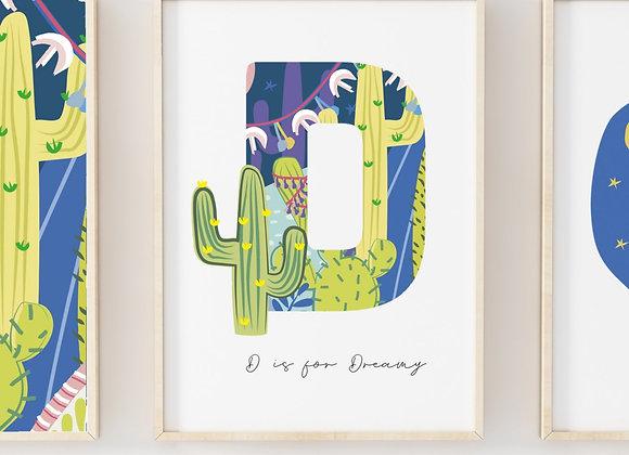 Personalised Pink Moon Cactus Nightlife Poster Print