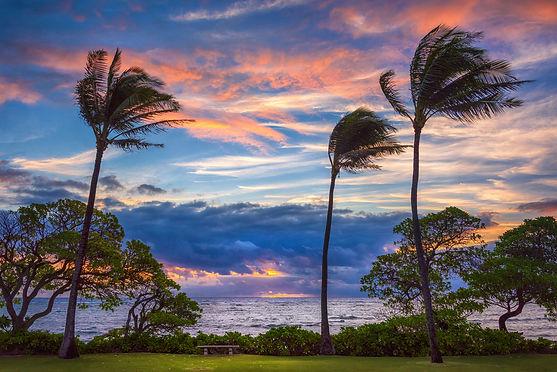 A windy and dramatic sunrise in Kapa'a o