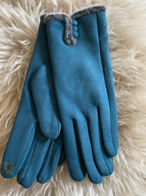 Teal Faux Suede gloves
