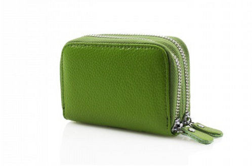 Green leather purse with credit card holder