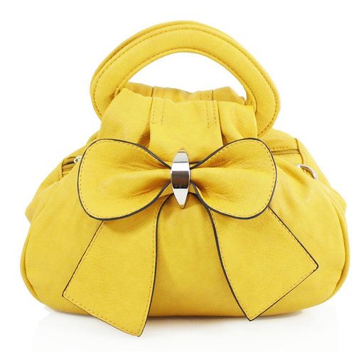 Yellow Bow Bag with multiple pockets