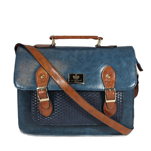 Woven Satchel - Blue and Tan