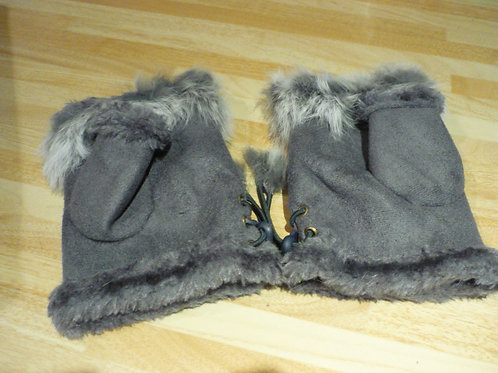 Fingerless gloves with fur - Grey