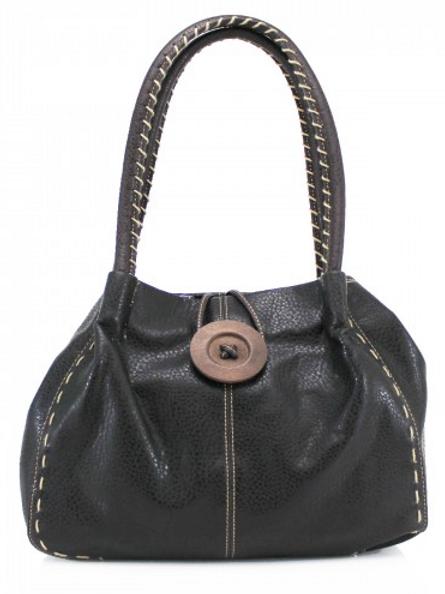 Black Button Shoulder Bag