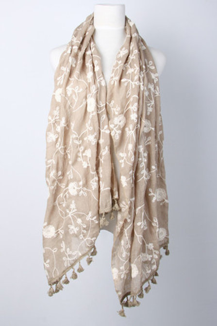 Beige embroidered scarf with tassles
