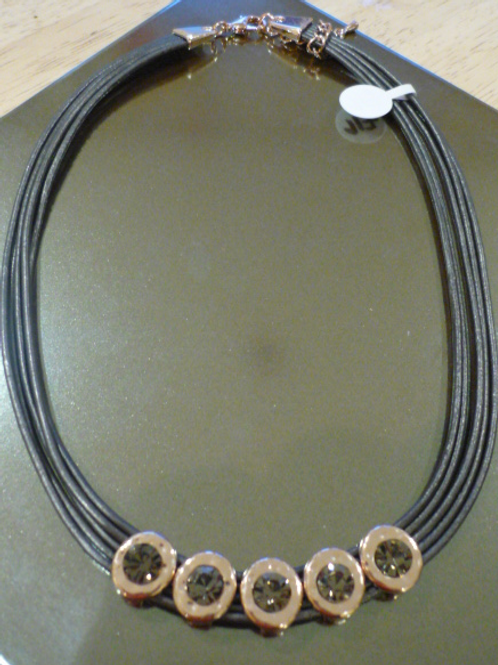 5 strand charcoal leather necklace with Rose Gold