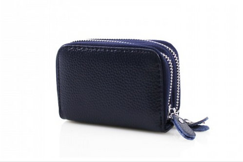 Blue leather purse with credit card holder