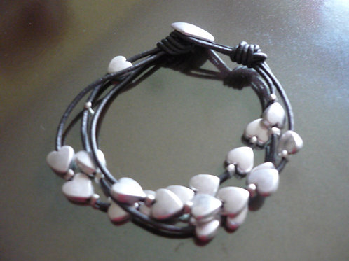 3 strand charcoal leather bracelet with Silver