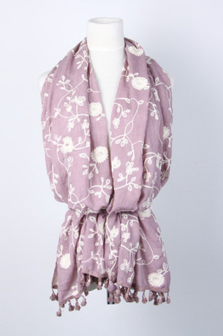 Pink embroidered scarf with tassles