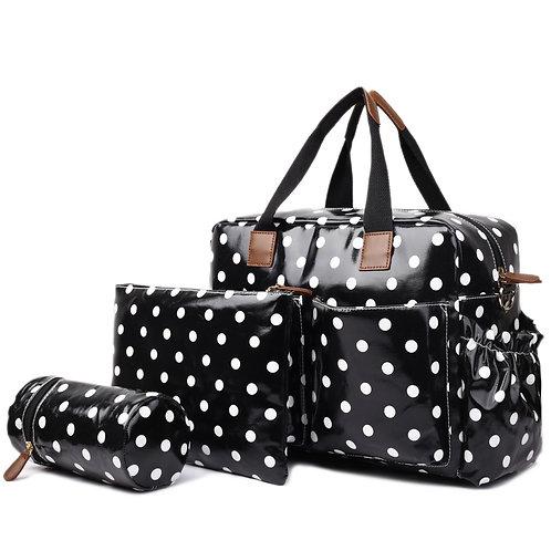 Baby Changing Bag Set - Black polka dot
