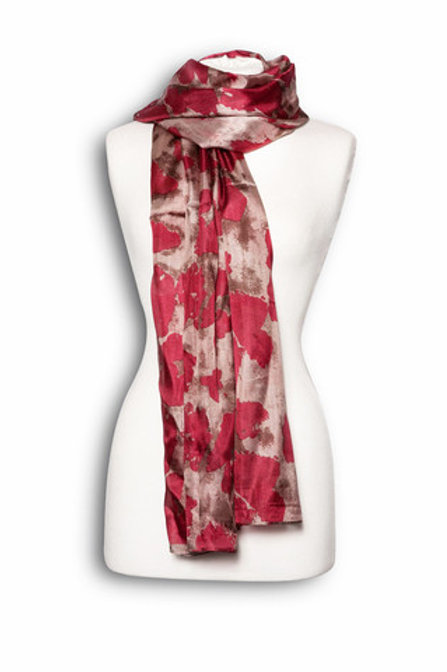 Abstract Print Silk Scarf - Pink and Bronze