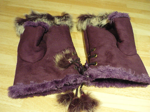 Fingerless gloves with fur - Purple