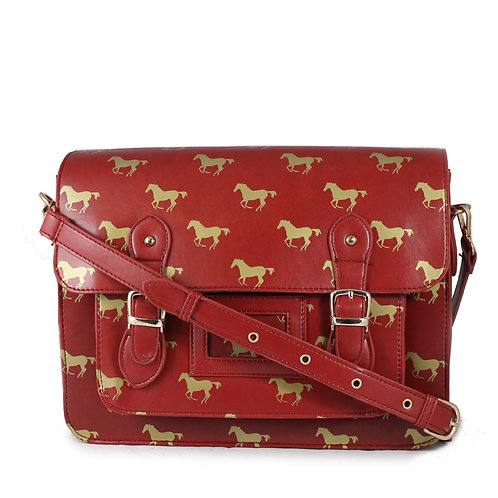 Horse Satchel - Gold horses on Red