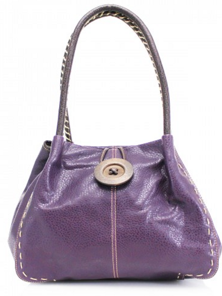 Purple Button Shoulder Bag