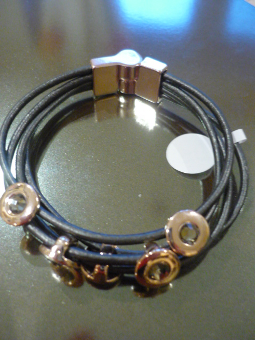 4 strand charcoal leather bracelet with Rose Gold