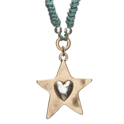 Heart pressed gold star on Teal cord