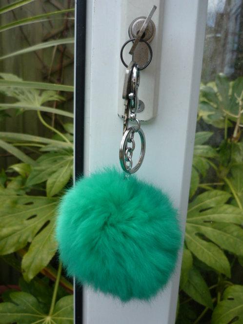 Fur Pompom Keyring or Bag Charm - Green