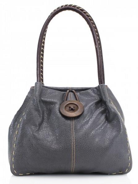 Dark Grey Button Shoulder Bag