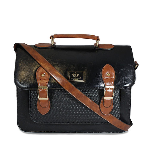 Woven Satchel - Black and Tan