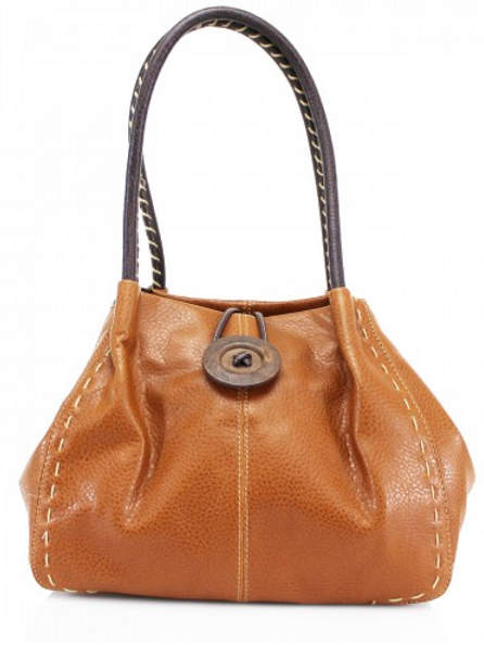 Tan Button Shoulder Bag