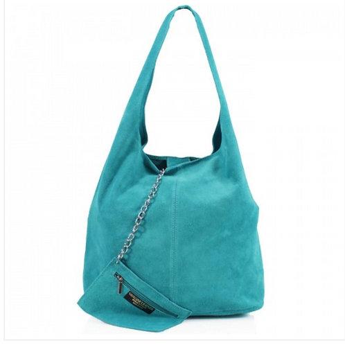 Turquoise Italian Suede bag