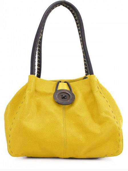 Mustard Button Shoulder Bag