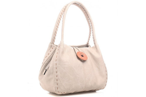 Beige Bessie Button Bag