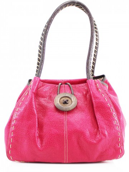 Fuchsia Pink Button Shoulder Bag