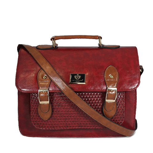 Woven Satchel - Dark Red and Tan