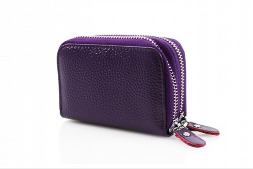 Purple leather purse with credit card holder