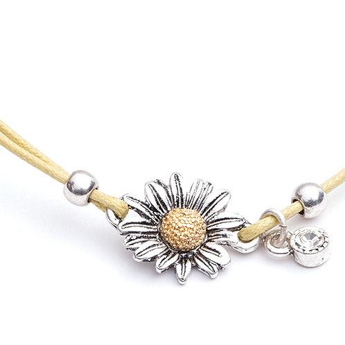 Daisy on cord bracelet