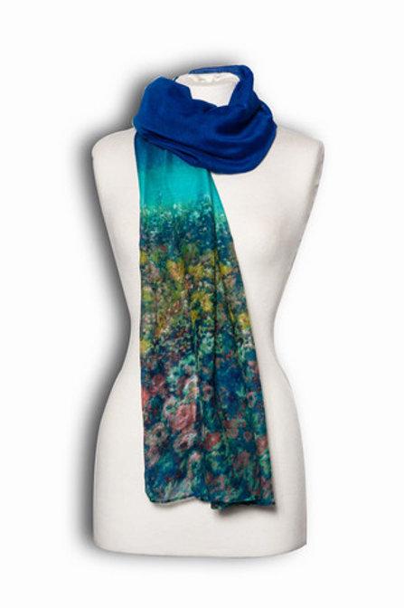 Turquoise Watercolour design scarf