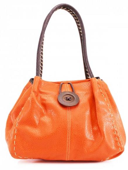 Orange Button Shoulder Bag